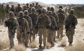 U.S. Marines with 3rd Battalion, 3rd Marine Regiment, 3rd Marine Division, 3rd Marine Expeditionary Force train in Yuma, Ariz., in September.