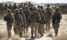 U.S. Marines with 3rd Battalion, 3rd Marine Regiment, 3rd Marine Division, 3rd Marine Expeditionary Force train in Yuma, Ariz., in September.