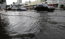 Heavy rains and high tides flood streets in Miami Beach, Florida, in September.