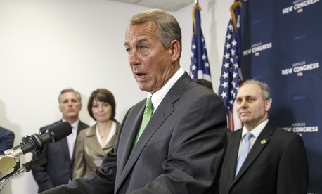 House Speaker John Boehner of Ohio, joined by other House Republican leaders, speaks at a news conference on Capitol Hill earlier this month.