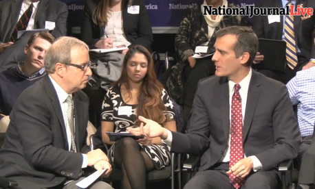 Los Angeles Mayor Eric Garcetti, right, speaks with Atlantic Media Editorial Director Ron Brownstein on Tuesday at the Newseum in Washington, D.C.