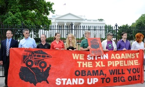 Protestors rally against the pipeline in Washington in 2011.