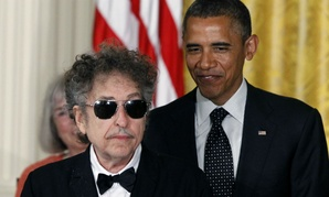 Bob Dylan and President Obama at the White House in 2012.
