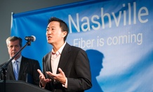 Kevin Lo, the general manager of Google's fiber-optic Internet services, announces during a news conference in Nashville, Tenn., on Tuesday, Jan. 27, 2015, that the city is among four metro areas selected to gigabit-speed connection.