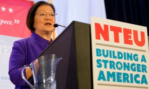 "Sen. Mazie Hirono, D-Hawaii, told union members: ""I stand with you."""