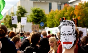 Germans rally in support of Edward Snowden in Berlin in August.