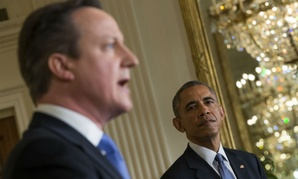 British Prime Minister David Cameron speaks during a joint press conference at the White House in January.