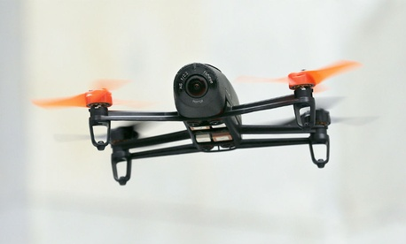 a Parrot Bebop drone flies during a demonstration at a Parrot event in San Francisco in May.