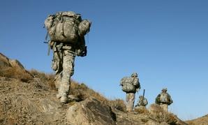 U.S. Army soldiers patrol in Afghanistan.