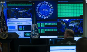 A view of the National Cybersecurity and Communications Integration Center before remarks by President Barack Obama, on Tuesday, Jan. 13, 2015, in Arlington, Va.