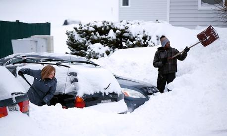 A Portland, Maine, apartment complex after a recent snow.