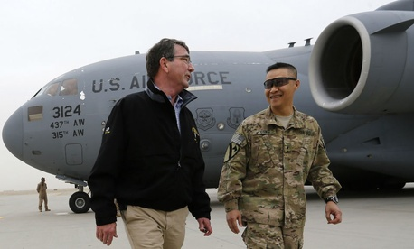 Defense Secretary Ashton Carter arrives at Kandahar on his first visit to Afghanistan since his swearing in.