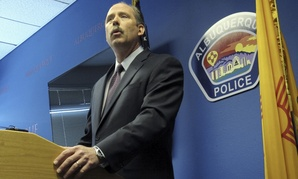 Albuquerque Mayor Richard Berry speaks to reporters Thursday April 10, 2014, after the U.S. Justice Department released a report in response to a series of deadly Albuquerque police shootings.