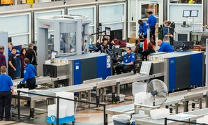 TSA screeners on the job at Denver International Airport.