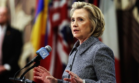 Clinton addressed reporters Tuesday.