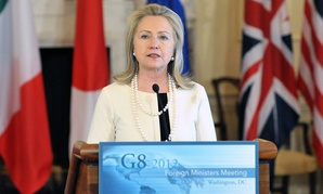 Hillary Clinton speaks at a G8 event in 2012.