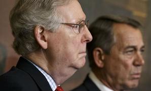 Battles over defense spending will put Senate Majority Leader Mitch McConnell (left) and House Speaker John Boehner in a tight spot.