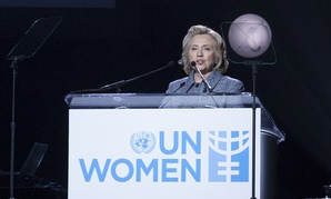 Clinton speaks at the UN at a conference early in March.