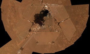 A self-portrait that was taken by the NASA rover Opportunity weeks before its tenth landing anniversary on Mars.