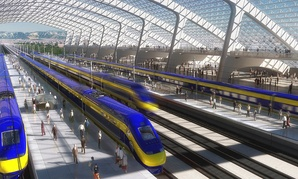 An artist's rendering of a high-speed train station in California.