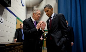 Obama and Reid speak in 2010.
