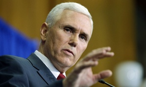 Indiana Gov. Mike Pence speaks question during a news conference, Tuesday, March 31, 2015, in Indianapolis.