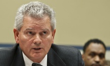 Jeff Neely declines to answer congressional questions about the Las Vegas conference during an April 2012 hearing.