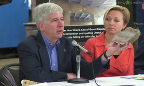 Michigan Gov. Rick Snyder has been hauling chunks of concrete around his state in advance of the Proposal 1 vote.