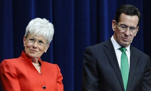 Connecticut Gov. Dannel P. Malloy, right, stands with Lt. Gov. Nancy Wyman.