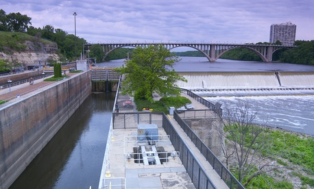 Lock and Dam No. 1 in Minnesota dams the Mississippi river.
