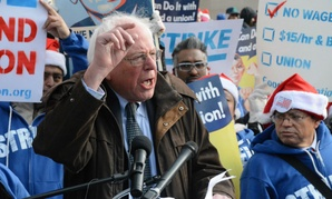 Sen. Bernie Sanders, I-Vt., speaks during a December 2014 protest seeking higher hourly wages for federal contract employees.