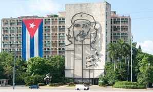 Cuba's Ministry of the Interior building features an iron mural of Che Guevara.