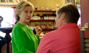 Hillary Clinton met with voters Tuesday in LeClaire, Iowa.