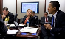 Then-Secretary of State Clinton meets with President Obama and his Afghanistan and Pakistan security team in 2010.