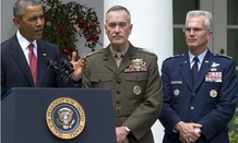 President Obama introduces nominees Marine Gen. Joseph Dunford (center) and Air Force Gen. Paul Selva.