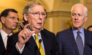 John Barrasso and John Cornyn accompanied Mitch McConnell when he spoke to the press Tuesday.