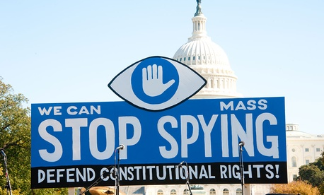 Protestors rally against the NSA programs in Washington in 2013.
