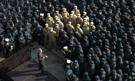 Ray Mabus speaks to sailors and Marines from units involved in Operation Tomodachi during an all-hands call in 2011.