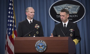 Chief of Naval Operations Adm. Jonathan Greenert and Director of the Naval Nuclear Propulsion Program Adm. John Richardson hold a press conference at the Pentagon, on Feb. 4, 2014.