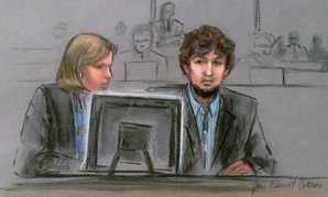 Dzhokhar Tsarnaev, right, and defense attorney Judy Clarke pay attention during the trial in this March courtroom sketch.