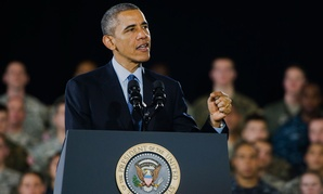 Obama speaks to service members in New Jersey in December.