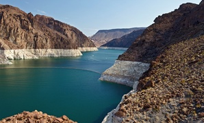The Colorado River's Lake Mead reservoir behind Hoover Dam.