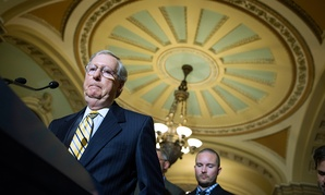 Senate Majority Leader Mitch McConnell speaks at the Capitol Tuesday.