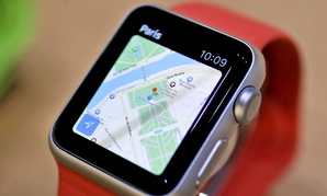 The Apple Maps app is displayed on an Apple Watch during an event in San Francisco.