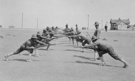 Bayonet practice at Camp Bowie in Fort Worth, Texas, in 1918.