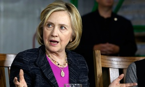 Hillary Clinton speaks during a roundtable Friday at Smuttynose Brewery in Hampton, New Hampshire.