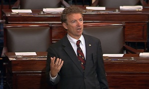 Sen. Rand Paul, R-Ky., and a Republican presidential contender, speaks on the floor of the U.S. Senate Wednesday afternoon, May 20, 2015, at the Capitol in Washington, during a long speech opposing renewal of the Patriot Act.