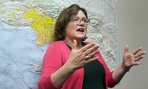 Lucy Jones, a USGS seismologist, talks during a news conference at Caltech in Pasadena, Calif, on Monday, March 17, 2014, following a 4.4. earthquake in the Los Angeles area.