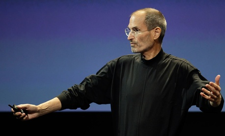 Jobs speaks at the iPhone 4 event in 2010.