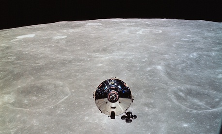 Apollo 10 command and service modules, as seen from the lunar module.